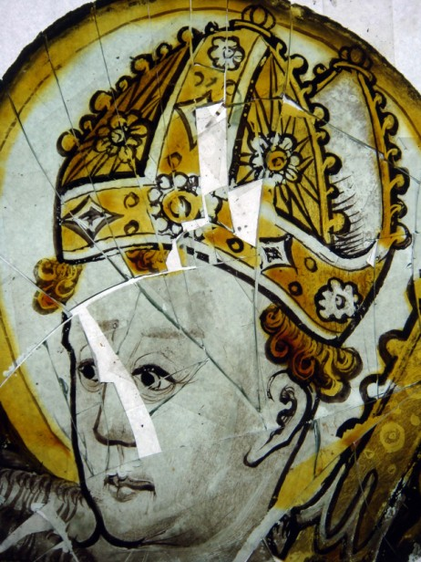 The head of St Blaise before restoration. © Barley Studios.