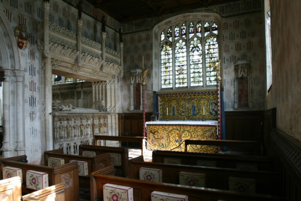 Chantry Chapel: East Window (sII) above altar, tombs on the left.