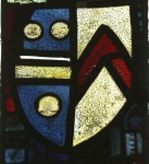 Tracery light A3: Shield of de la Pole impaling Stafford.