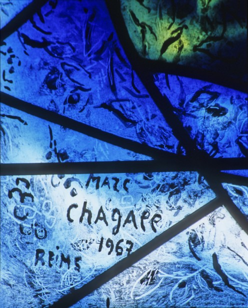 Marc Chagall's signature at Tudeley. © Gordon Plumb.