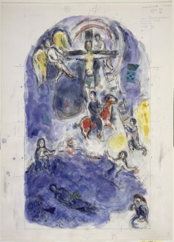 Marc Chagall study for east window 5, 1966–1978. © ADAGP, Paris and DACS, London/Centre Pompidou, Paris and Chagall Museum, Nice.