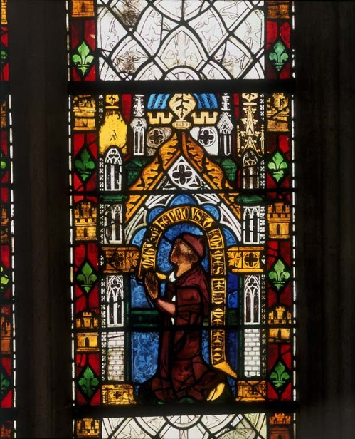 Canopy and figure in Merton College, window nIII, panel 3c, c. 1305-10.