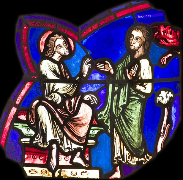 St James converts Hermogenes to Christianity, cathedral of St Etienne, Bourges. © Stuart Watling.