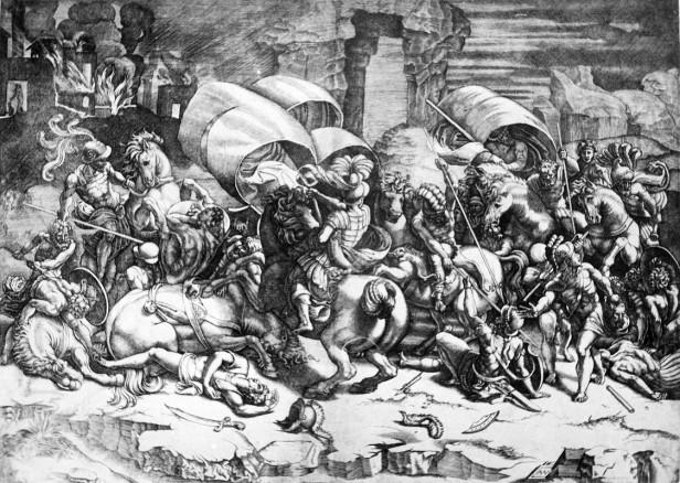 Engraving by Agostino Veneziano.