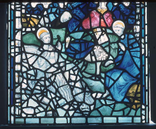 Saint Cuthbert and the otters. Panel 13d, sVII, St Cuthbert window, York Minster. © Crown Copyright, NMR.
