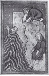 St Cuthbert praying in the sea; his feet are washed by otters, London, British Library, fol. 24r, Yates Thompson MS 26 (Add. MS 39943).