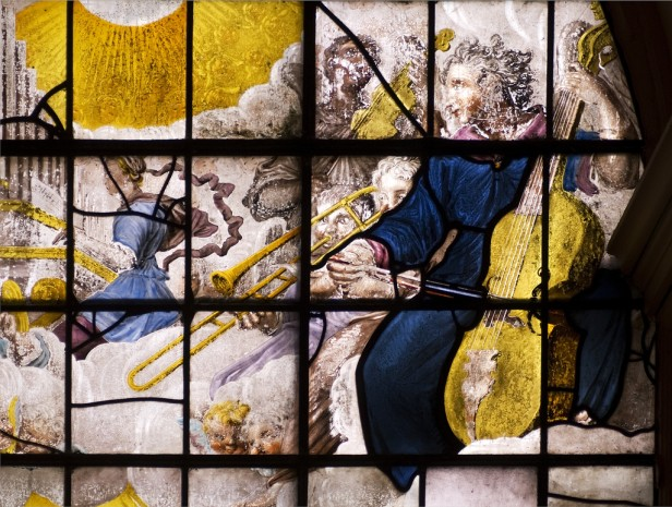 Detail of St Cecilia playing organ and angels playing violin, Cello and trombone