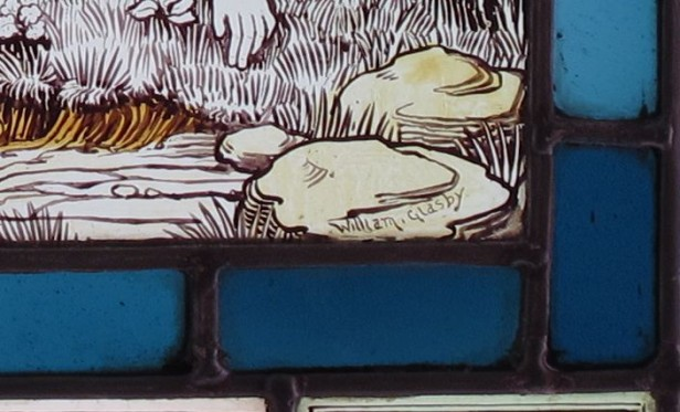 Detail from the panel with William Glasby's signature.