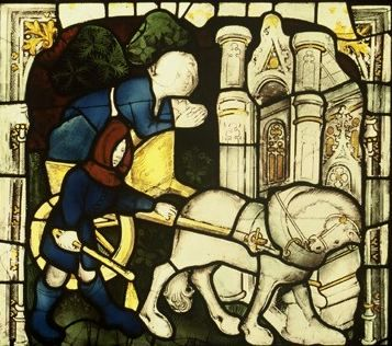 A sick woman brought to York Minster, panel 11d. © Dean and Chapter of York.