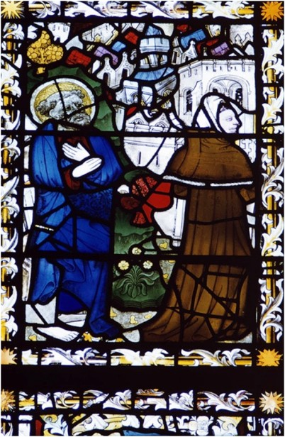 St Peter and Simon Magus before a walled city, East window, panel 4g, St Peter Mancroft, Norwich