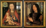 Diptych of Maarten van Nieuwenhove by Hans Memling showing enamel painted roundels in the windows behind the main figures