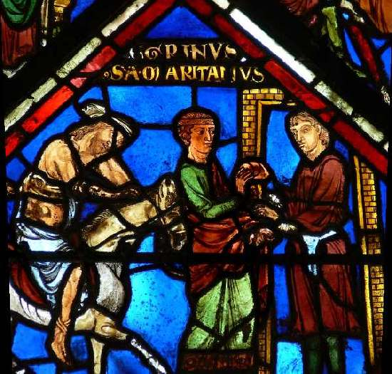 The Good Samaritan paying the innkeeper, Sens Cathedral, c.1207–1215.