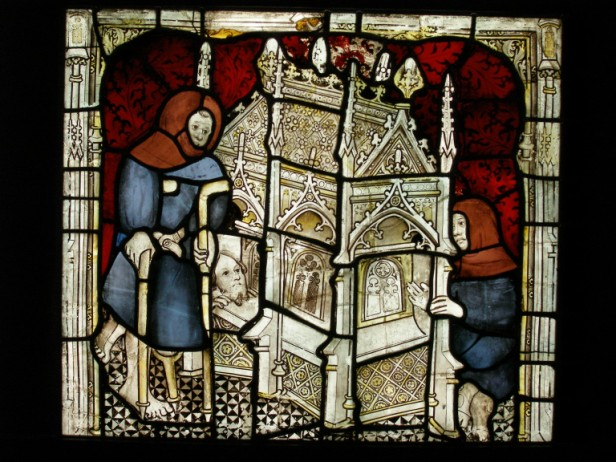 Three supplicants at the tomb, one man has crutches, St William window. © Dean and Chapter of York.