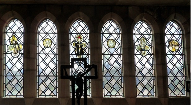 South window, Crypt. Ampleforth Abbey North Yorkshire. Photo: author.