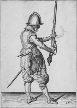 Musketeer practising drill from 'The Exercise of Armes' by Jakob de Geyn. © The British Library Board. BL shelfmark 61.h.18