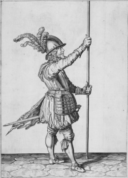 Pikeman practising drill from 'The Exercise of Armes' by Jakob de Geyn. © The British Library Board. [BL shelfmark 61.h.18]