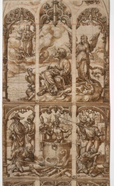 (upper part) Jan Gossaert, Design for a glass window with scenes from the life of Saint John the Evangelist, c. 1520. Pen and brown ink, brown wash, red chalk, squared for transfer in black chalk, incised construction lines – 60.2 x 21.9 cm. Florence, Gabinetto Disegni e Stampe degli Uffizi, inv. 1335 E-1338 E.