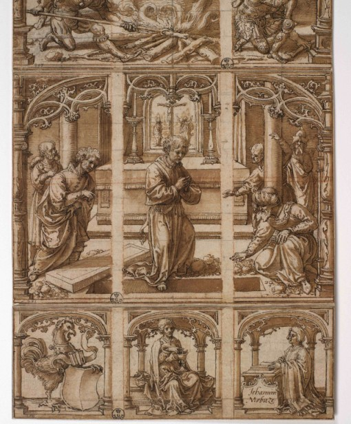 (lower part) Jan Gossaert, Design for a glass window with scenes from the life of Saint John the Evangelist, ca. 1520s. Pen and brown ink, brown wash, red chalk, squared for transfer in black chalk, incised construction lines – 60.2 x 21.9 cm. Florence, Gabinetto Disegni e Stampe degli Uffizi, inv. 1335 E-1338 E