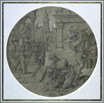 Jan Gossaert, The beheading of Saint John the Baptist, ca. 1510–1515. Pen and black ink, white gouache, on grey-brown prepared paper – diameter 24.5 cm. Paris, École nationale supérieure des beaux-arts.