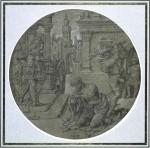 Jan Gossaert, The beheading of Saint John the Baptist, ca. 1510–1515. Pen and black ink, white gouache, on grey-brown prepared paper – diameter 24.5 cm. Paris, École nationale supérieure des beaux-arts.