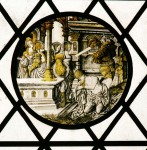 Anonymous glass painter, after Jan Gossaert, The beheading of Saint John the Baptist, ca. 1510s (?). Stained glass – diameter 24 cm. parish church of Saint Oswald, Malpas, Cheshire.