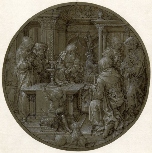 Dirck Vellert, The Presentation in the Temple, ca. 15***. Pen and brown ink, with brown wash, white gouache, over black chalk, on green-grey prepared paper – diameter: 23.8 cm. London, British Museum, Department of Prints and Drawings, inv. 1952-121-85.
