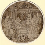 Dirck Vellert, The Presentation in the Temple, ca. 15***. Pen and brown ink – diameter 27.2 cm. London, British Museum, Department of Prints and Drawings, inv. 1923-417-4.