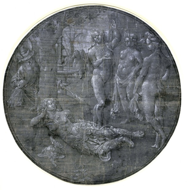 Circle of Jan Gossaert, The Judgement of Paris, ca. 1510s. Pen and black ink, white gouache, on grey-blue prepared paper – diameter 23.5 cm. Edinburgh, National Gallery of Scotland, inv. D 652.