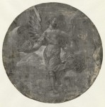 Circle of Jan Gossaert, Allegory of Fortune, ca. 1520s. Pen and black ink, white gouache, on blue prepared paper – diameter 21.7 cm. Hamburger Kunsthalle, inv. 23908.