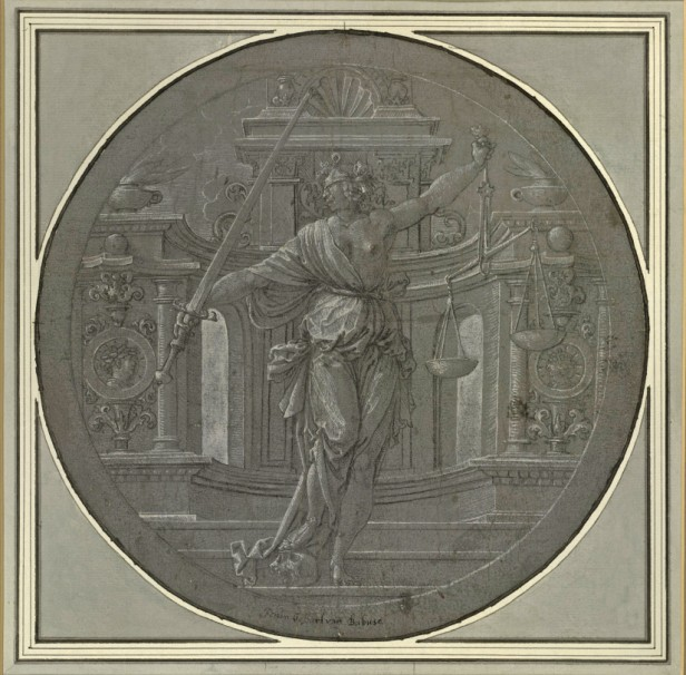 Jan Gossaert, Aegisthus killing Agamaemnon in the presence of Clytemnestra, ca. 1520s. Pen, brush and black ink, white gouache, on blue-grey prepared paper – diameter 27.8 cm. Paris, Frits Lugt Collection, inv. 5498.