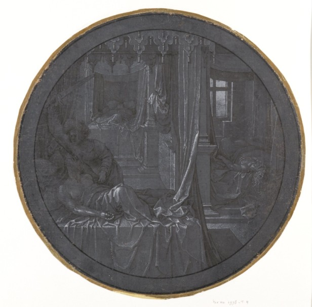 Jan Gossaert, A woman killing three sleeping men, ca. 1520s. Pen, brush and black ink, white gouache, on blue-grey prepared paper – diameter 27.7 cm. Paris, Frits Lugt Collection, inv. 1978-T.4.