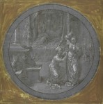 Jan Gossaert, A woman and her handmaid in a bedroom wth a resting man, ca. 1520s. Pen, brush and black ink, white gouache, on blue-grey prepared paper – diameter 28.2 cm. Cambridge, Fitzwilliam Museum, inv. PD. 356-1963.
