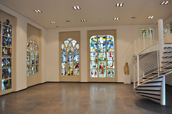 New exhibition hall with stained glass. Photograph by Kerstin Ziehe.