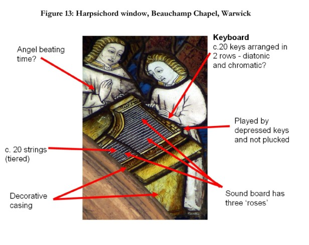 Harpsichord window, Beauchamp Chapel, Warwick . © The author.