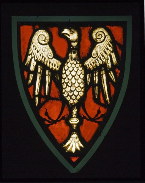 Fig. 1. Heraldic panel with an eagle on a red ground.