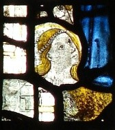 Fig. 5. Eve and Adam, Lady Chapel east window, Gloucester Cathedral. © Chapter of Gloucester Cathedral.