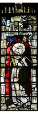 Fig. 6. Female saint, Lady Chapel east window, Gloucester Cathedral (C9 top half, C3 bottom half). © Chapter of Gloucester Cathedral.