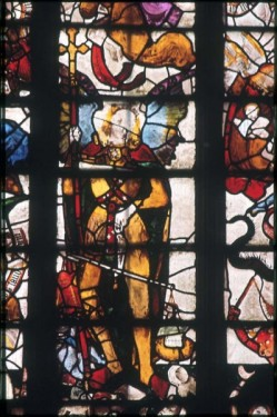St Michael, west window, Fairford church (Gloucs).