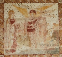 The Weighing of Souls, St James, South Leigh, Oxfordshire. This scheme was 'reconstructed' in 1872 when the church was restored. A palimpsest of the smaller original medieval painting has become visible in recent years.