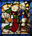 Fig. 12. Jacob preparing to appear before Esau (Genesis XXXII), east window of Marston Bigot church, Somerset. The women's heads are modern.
