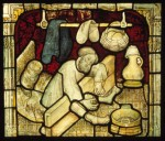 A man in the stocks: panel from the St William Window after restoration