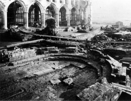 The chapter house after clearance, c1920.