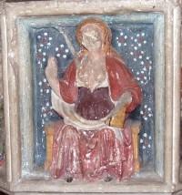 St Agatha, font, All Saints, Hemblington