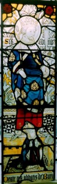 Thomas Rattlesden, Abbot of Bury St Edmunds, before an image of St Edmund..