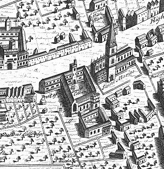Fig. 2. View of All Souls College by Ralph Agas (c. 1540 -1611), printed 1578