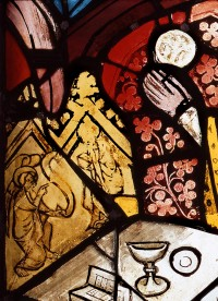 Fig. 8. Annunciation on the altar retable. Nuremberg, St Martha, choir, I 2b (detail). (Rüdiger Tonojan, CVMA Freiburg)