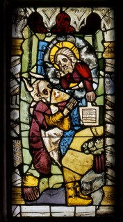 Fig. 13. Moses receives the Ten Commandments. Nuremberg, St Martha, choir, I 5b. (Rüdiger Tonojan, CVMA Freiburg)