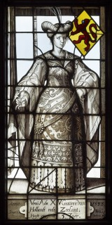 Fig. 2. Glass painted by Willem Tybaut of Haarlem: Lady Ada, 15th Countess of Holland and Zeeland, for the former St.-Jorisdoelen (seat of the civic militia) in Leiden, Zuid-Holland.