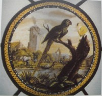 Fig. 1. Eglington Margaret Pearson, Green parrot in a landscape, after George Edwards, 1776, Nonsuch House, Surrey.