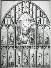 Fig.3 Richard Earlom, after Sir Joshua Reynolds,The West Window of the Chapel, New College, Oxford, engraving, published John Boydell 1785 ©Trustees of the British Museum